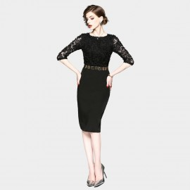 ZOFS Semi-Sheer Sleeves Pencil Black Dress (8934)
