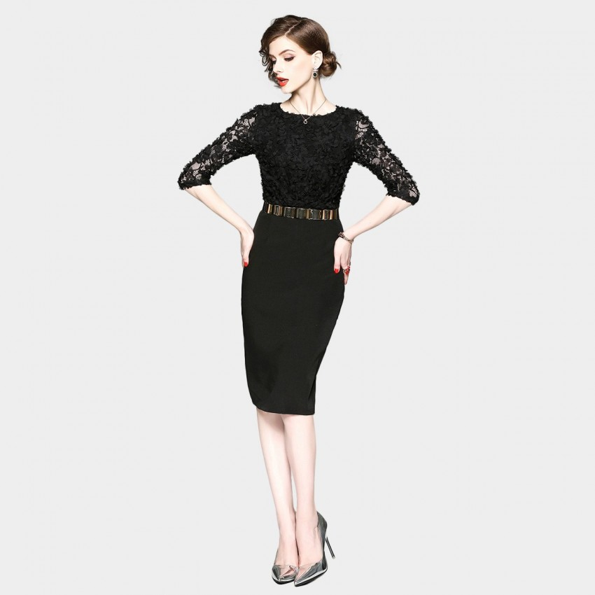 Buy ZOFS Semi-Sheer Sleeves Pencil Black Dress online, shop ZOFS with free shipping
