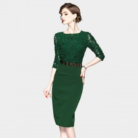 ZOFS Semi-Sheer Sleeves Pencil Green Dress (8934)