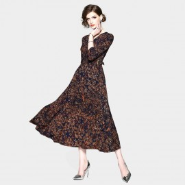 ZOFS Leaf Print Maxi Brown Dress (8936)