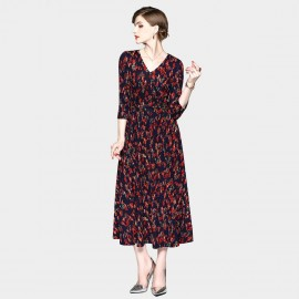 ZOFS Leaf Print Maxi Red Dress (8936)