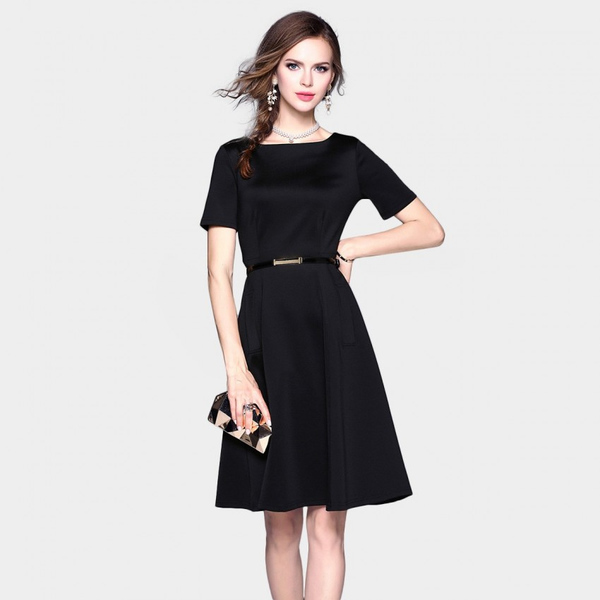 Buy ZOFS Classic A-Line Black Dress online, shop ZOFS with free shipping