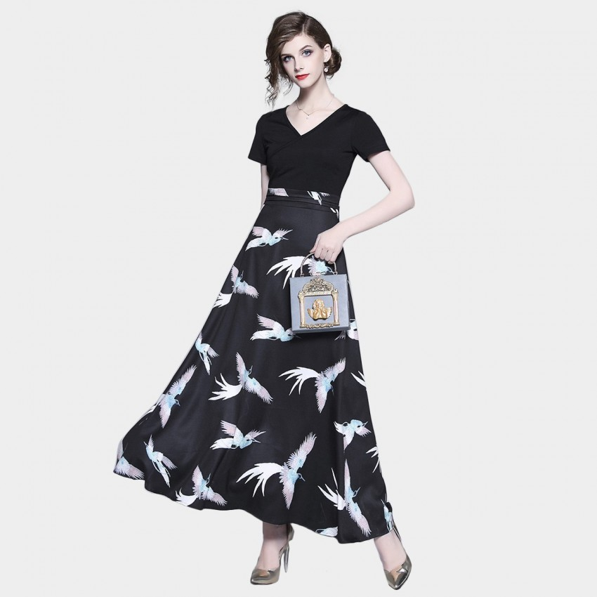 Buy ZOFS Bird Print Maxi Black Dress online, shop ZOFS with free shipping
