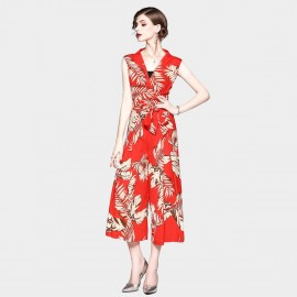 ZOFS Leaf Print Red Jumpsuit (8951)