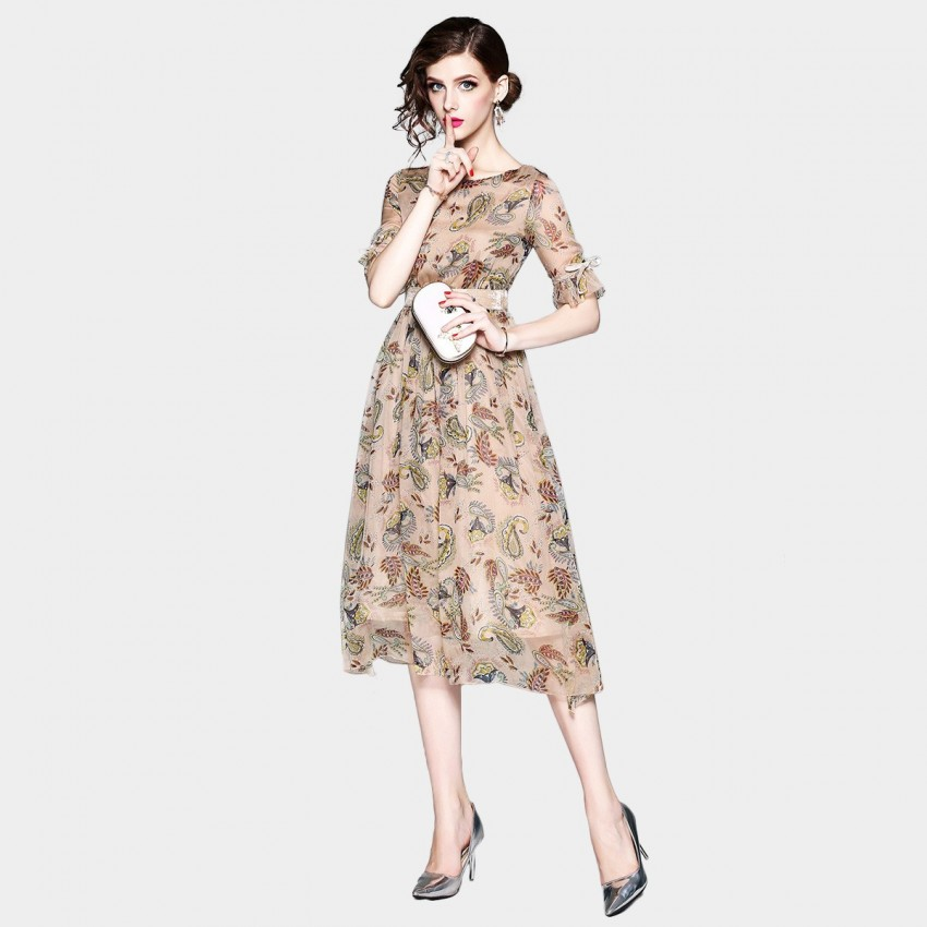 Buy ZOFS Vintage Leaf Print Apricot Dress online, shop ZOFS with free shipping
