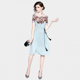 ZOFS Floral Tassel Green Dress (8957)