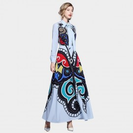 ZOFS Ethnic Maxi Blue Dress (8961)