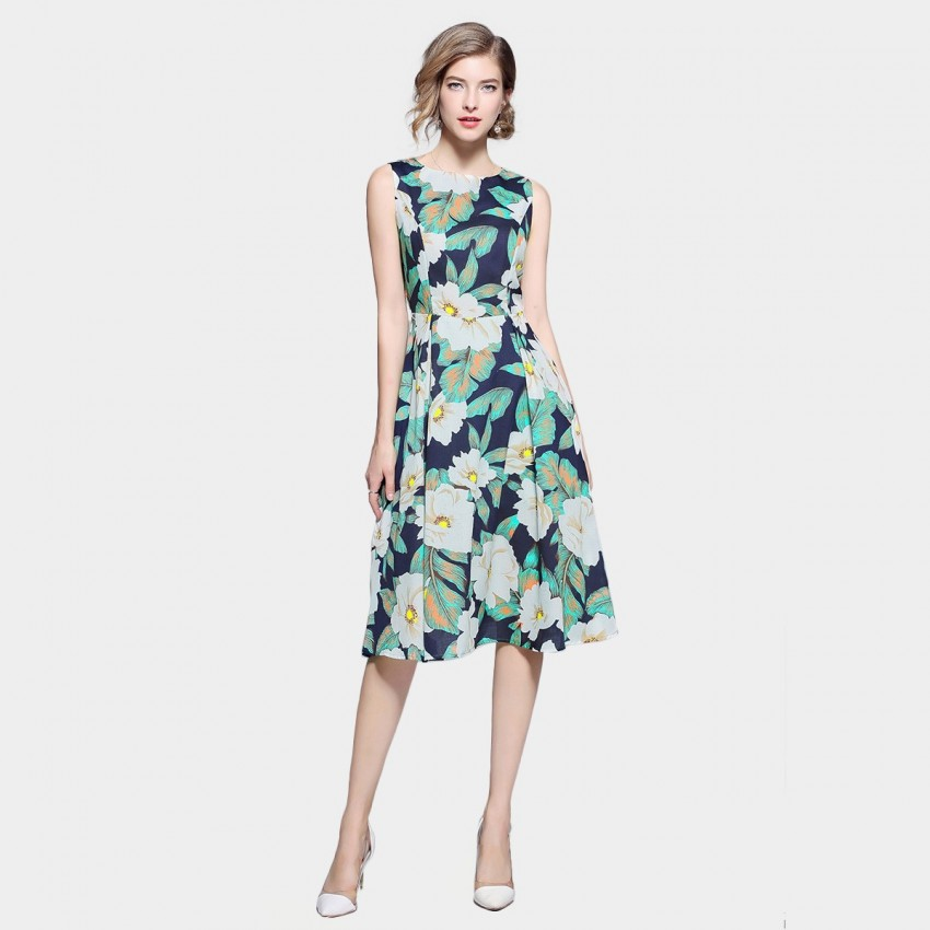 Buy ZOFS Floral Midi Green Dress online, shop ZOFS with free shipping