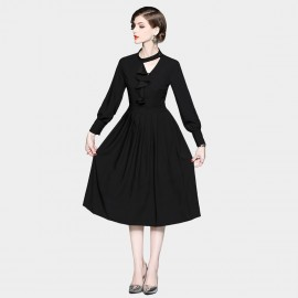 ZOFS Ruffle Midi Black Dress (8978)