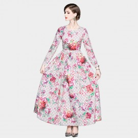 ZOFS Royal Floral Maxi Pink Dress (8979)