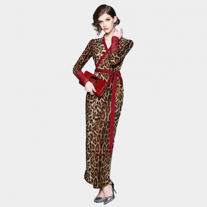 ZOFS Wrap Maxi Leopard Dress (8982)
