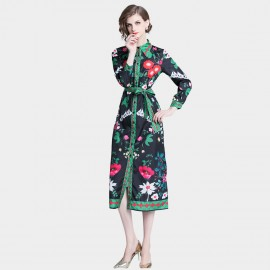 ZOFS Mixed Floral Green Dress (8989)