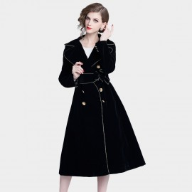 ZOFS Velvet Shift Tie-Waist Black Coat (8991)
