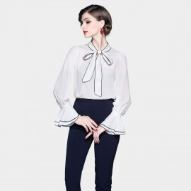 ZOFS Ribbon Collar White Shirt (8995)