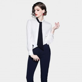 ZOFS Chic Tie White Shirt (8996)
