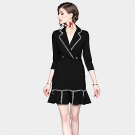 ZOFS Wrap Mini Black Dress (8999)