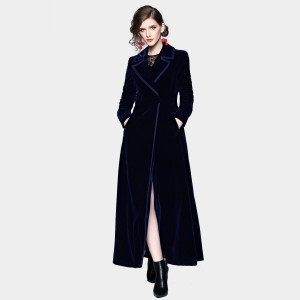 ZOFS Velvet Shift Long Navy Coat (9002)