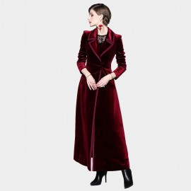 ZOFS Velvet Shift Chic Wine Coat (9005)