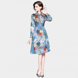 ZOFS Ribbon Collar Floral Blue Dress (9006)