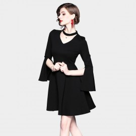ZOFS Slit Sleeve Black Dress (9008)