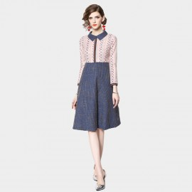 ZOFS Dotted And Tweed Apricot Dress (9121)