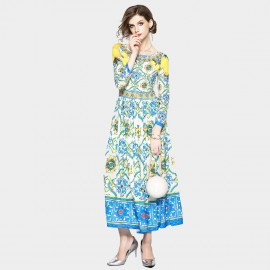 ZOFS Summer Vintage Blue Dress (9306)