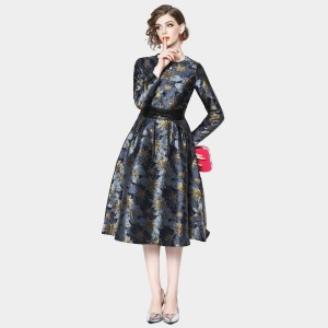 ZOFS Long-Sleeved Floral Navy Dress (9636)
