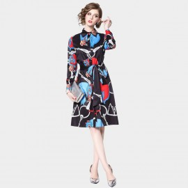 ZOFS Modern Abstract Blue Dress (9693)
