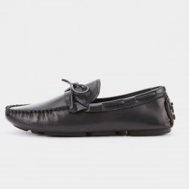 Herilios Bow Pointed Toe Black Loafer (H8105D36)