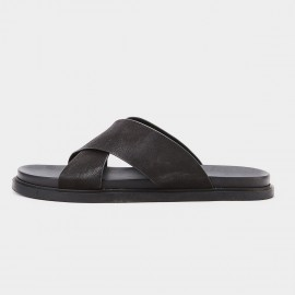 Herilios Cross Strap Black Slipper (H8105L35)