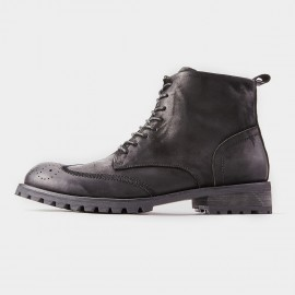 Herilios Tinted Wingtip Zipper High Ankle Black Boot (H8305G56)