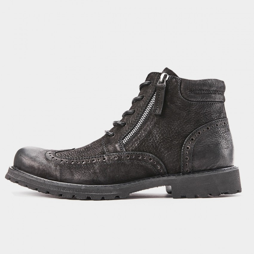 Herilios Tinted Grunge Wingtip Zipper Ankle Black Boots (H8305G62)
