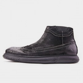 Herilios Smoky Wingtip Cushion Ankle Black Boots (H8305G68)