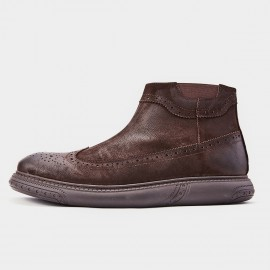 Herilios Smoky Wingtip Cushion Ankle Brown Boots (H8305G68)