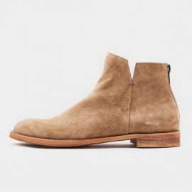 Herilios Basic Round Toe Suede Ankle Apricot Boots (H8305G76)