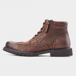 Herilios Tinted Grunge Wingtip Zipper Ankle Brown Boots (H8305G62)