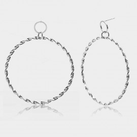 Coen C Hoop Wheelmark Silver Earrings (B01291K1)