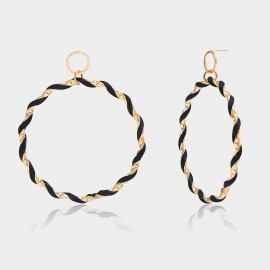 Coen C Hoop Black Wheelmark Gold Earrings (B01292K1)