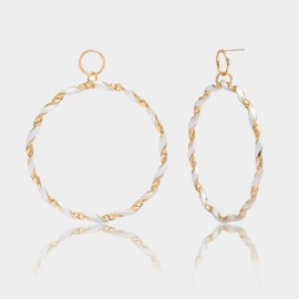 Coen C Hoop White Wheelmark Gold Earrings (B01292K2)