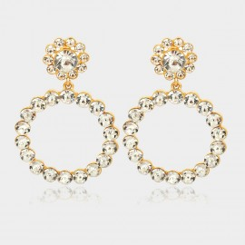 Coen C Crystal Flower Gold Earrings (B01295K1)
