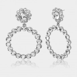 Coen C Crystal Flower Silver Earrings (B01295K1)