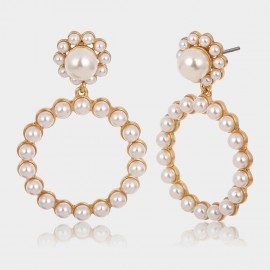 Coen C Pearl Flower Gold Earrings (B01295K2)