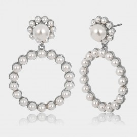 Coen C Pearl Flower Silver Earrings (B01295K2)
