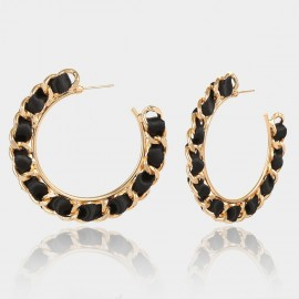 Coen C Chain Wheel Black Earrings (B01297K1)