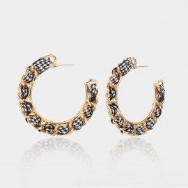 Coen C Chain Wheel White Earrings (B01297K1)