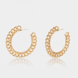 Coen C Chain Wheel Gold Earrings (B01297K1)