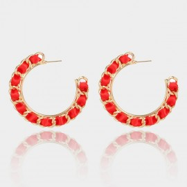 Coen C Chain Wheel Red Earrings (B01297K1)