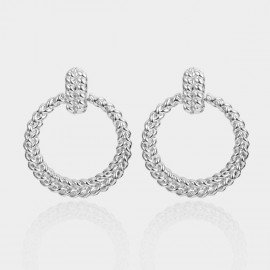 Coen C Twist Silver Earrings (B01379K1)