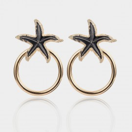 Coen C Glitzy Sea Star Black Earrings (B01392K1)