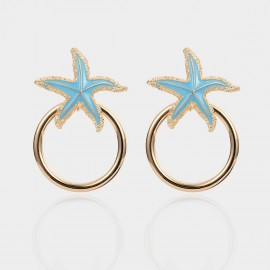 Coen C Glitzy Sea Star Blue Earrings (B01392K1)